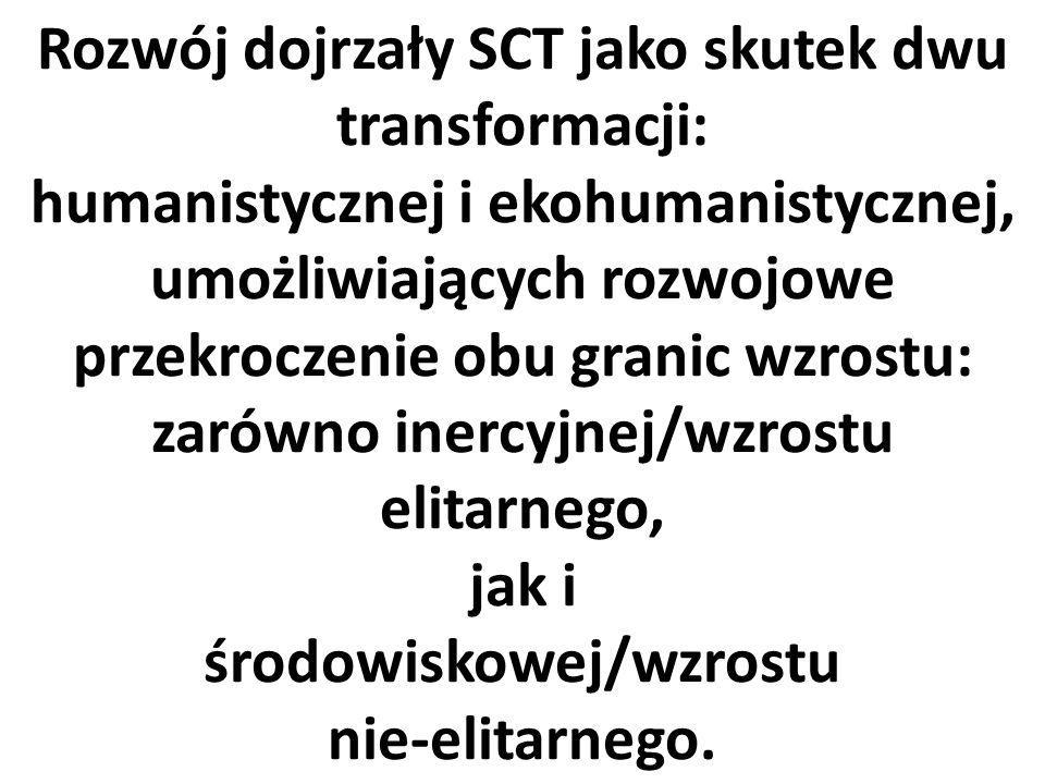 Rozwój dojrzały SCT jako skutek dwu transformacji: humanistycznej i ekohumanistycznej, umożliwiających rozwojowe przekroczenie obu granic wzrostu: zarówno inercyjnej/wzrostu elitarnego, jak i środowiskowej/wzrostu nie-elitarnego.