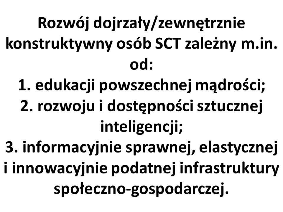 Rozwój dojrzały/zewnętrznie konstruktywny osób SCT zależny m.in.