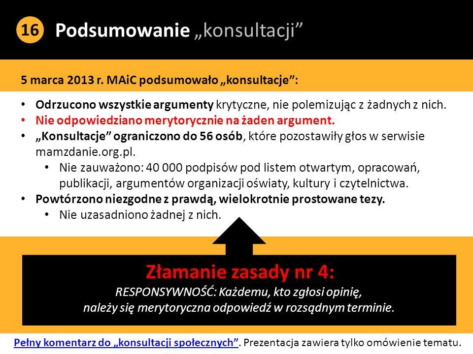 """Podsumowanie """"konsultacji 16 5 marca 2013 r."""