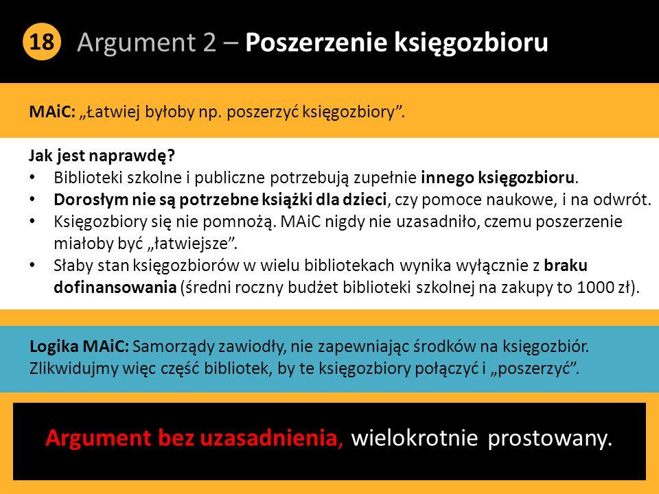 """Argument 2 – Poszerzenie księgozbioru 18 MAiC: """"Łatwiej byłoby np."""