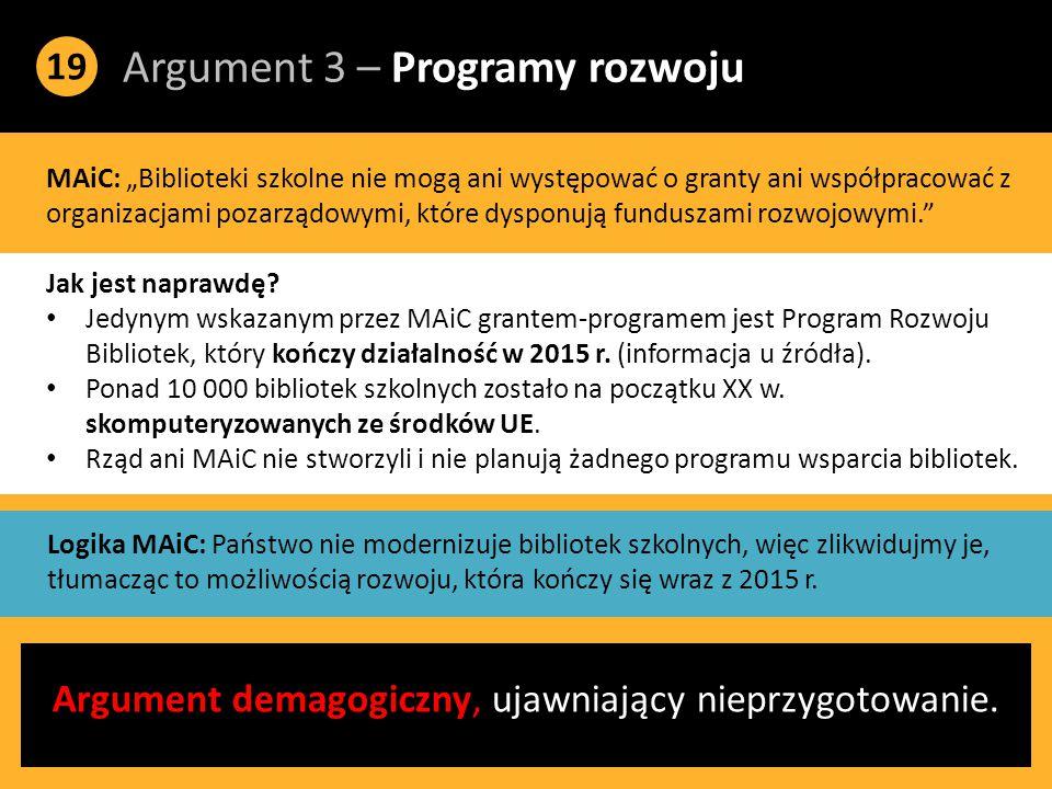 """Argument 3 – Programy rozwoju 19 MAiC: """"Biblioteki szkolne nie mogą ani występować o granty ani współpracować z organizacjami pozarządowymi, które dysponują funduszami rozwojowymi. Jak jest naprawdę."""