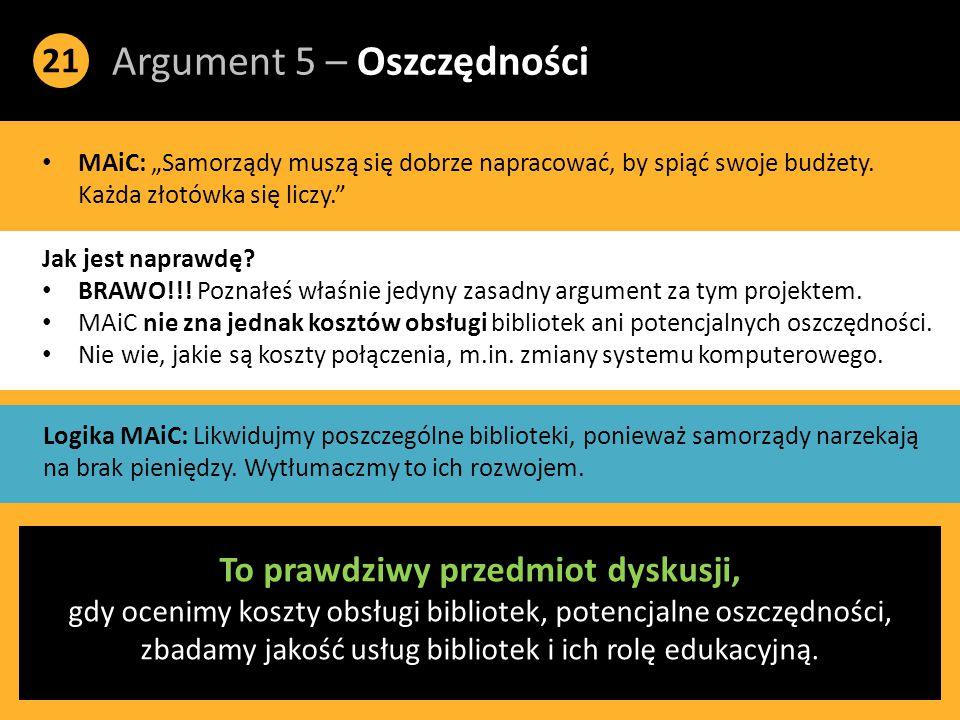 """Argument 5 – Oszczędności 21 MAiC: """"Samorządy muszą się dobrze napracować, by spiąć swoje budżety."""