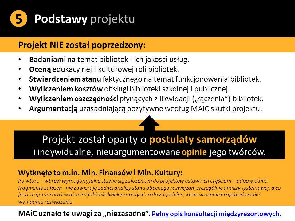 Podstawy projektu 5 Projekt NIE został poprzedzony: Badaniami na temat bibliotek i ich jakości usług.