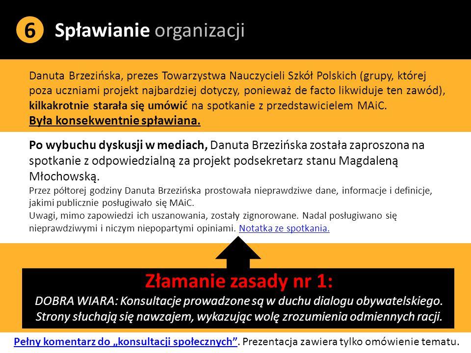 Spławianie organizacji 6 Danuta Brzezińska, prezes Towarzystwa Nauczycieli Szkół Polskich (grupy, której poza uczniami projekt najbardziej dotyczy, ponieważ de facto likwiduje ten zawód), kilkakrotnie starała się umówić na spotkanie z przedstawicielem MAiC.