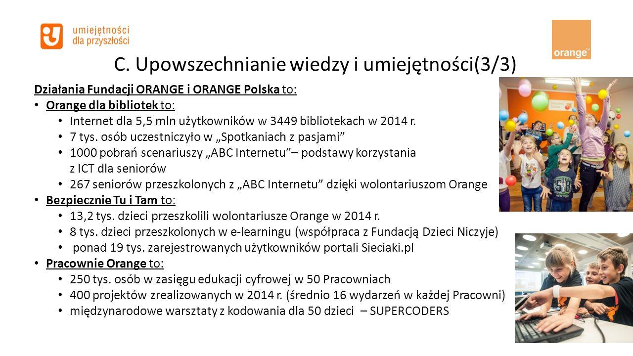 C. Upowszechnianie wiedzy i umiejętności(3/3) Działania Fundacji ORANGE i ORANGE Polska to: Orange dla bibliotek to: Internet dla 5,5 mln użytkowników