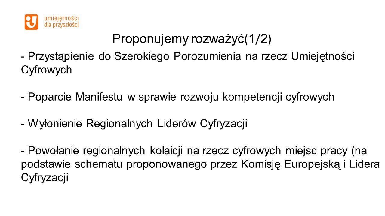 Proponujemy rozważyć ( 1 / 2 ) - Przystąpienie do Szerokiego Porozumienia na rzecz Umiejętności Cyfrowych - Poparcie Manifestu w sprawie rozwoju kompetencji cyfrowych - Wyłonienie Regionalnych Liderów Cyfryzacji - Powołanie regionalnych kolaicji na rzecz cyfrowych miejsc pracy (na podstawie schematu proponowanego przez Komisję Europejską i Lidera Cyfryzacji