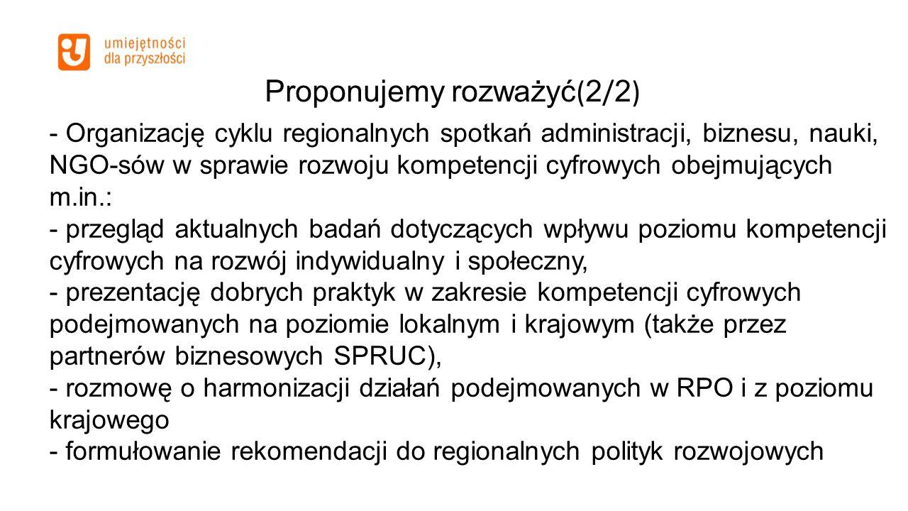 Proponujemy rozważyć ( 2 / 2 ) - Organizację cyklu regionalnych spotkań administracji, biznesu, nauki, NGO-sów w sprawie rozwoju kompetencji cyfrowych
