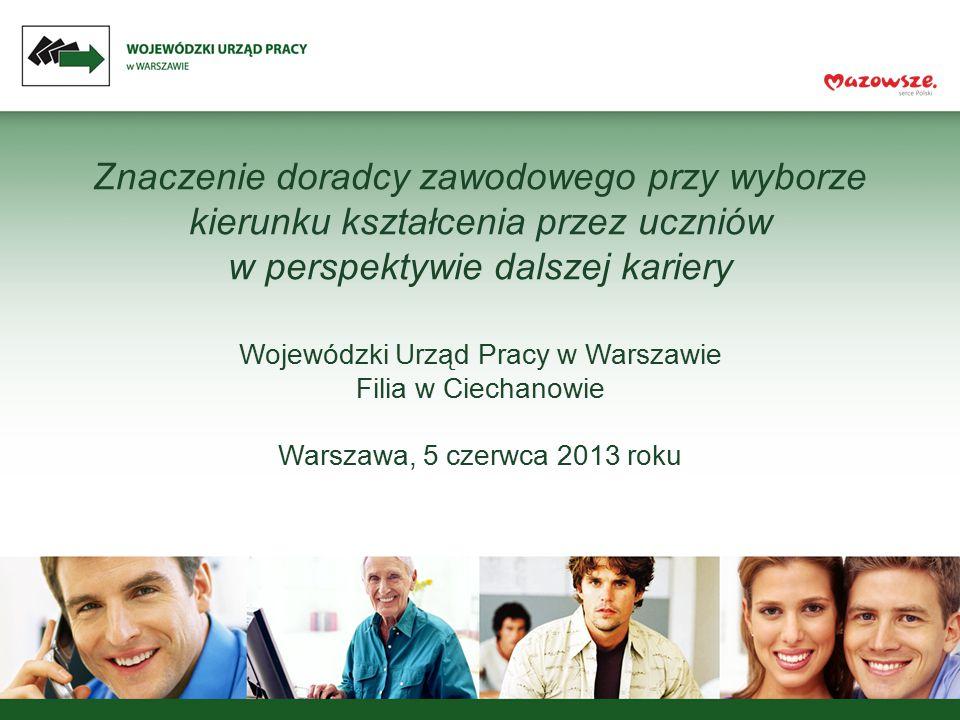 Znaczenie doradcy zawodowego przy wyborze kierunku kształcenia przez uczniów w perspektywie dalszej kariery Wojewódzki Urząd Pracy w Warszawie Filia w