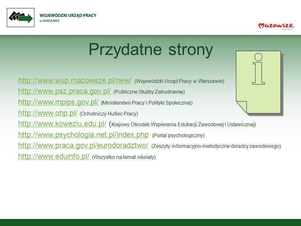 Przydatne strony http://www.wup.mazowsze.pl/new/http://www.wup.mazowsze.pl/new/ (Wojewódzki Urząd Pracy w Warszawie) http://www.psz.praca.gov.pl/http: