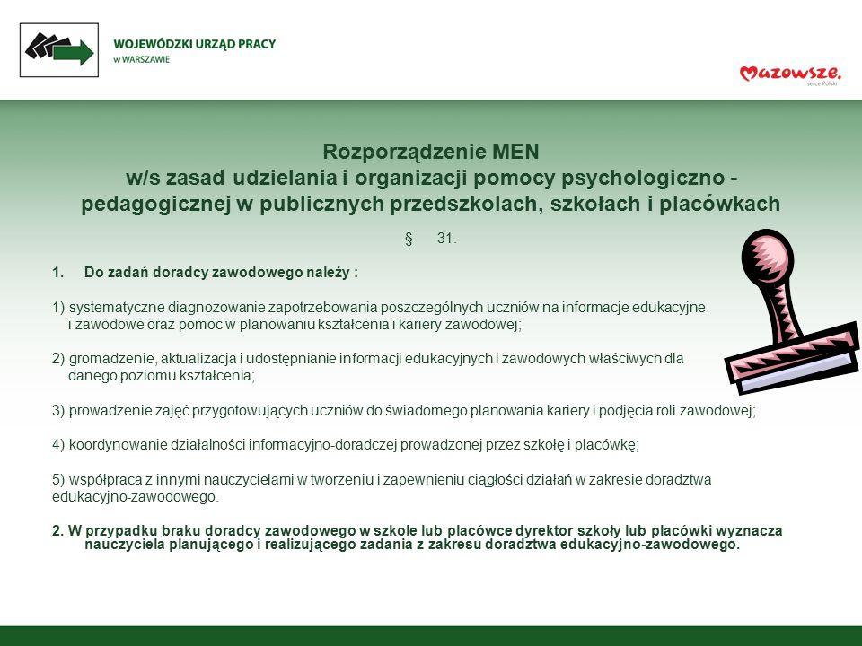 Rozporządzenie MEN w/s zasad udzielania i organizacji pomocy psychologiczno - pedagogicznej w publicznych przedszkolach, szkołach i placówkach §31. 1.