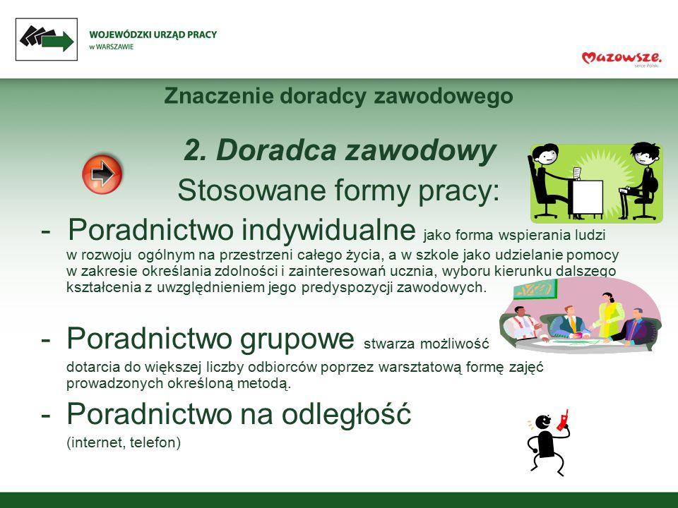 Znaczenie doradcy zawodowego 2. Doradca zawodowy Stosowane formy pracy: - Poradnictwo indywidualne jako forma wspierania ludzi w rozwoju ogólnym na pr
