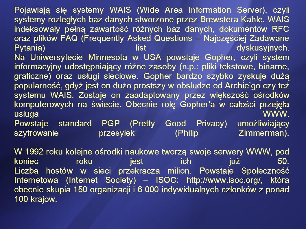 Pojawiają się systemy WAIS (Wide Area Information Server), czyli systemy rozległych baz danych stworzone przez Brewstera Kahle.