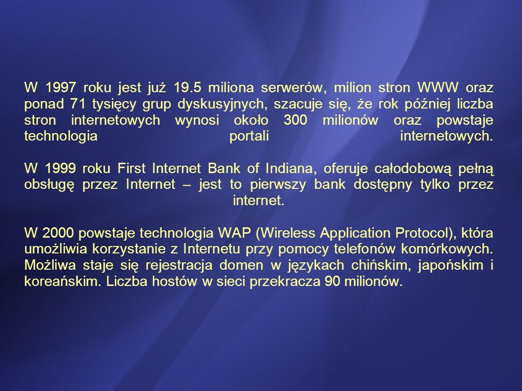 W 1997 roku jest już 19.5 miliona serwerów, milion stron WWW oraz ponad 71 tysięcy grup dyskusyjnych, szacuje się, że rok później liczba stron internetowych wynosi około 300 milionów oraz powstaje technologia portali internetowych.