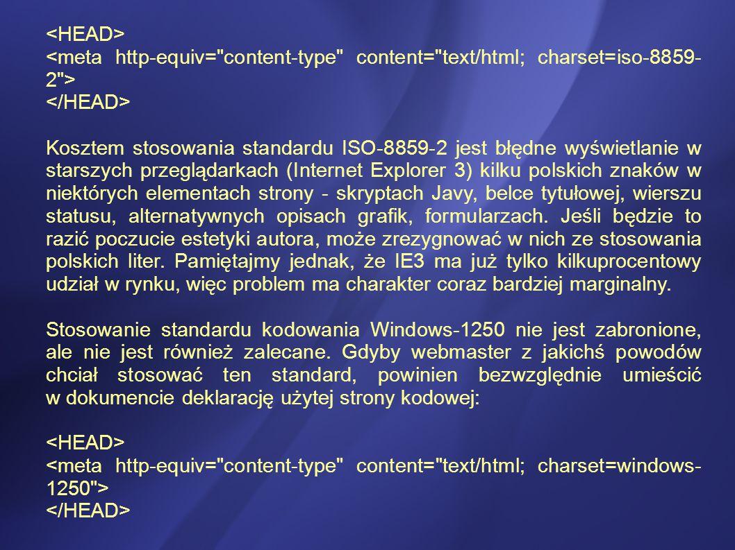 Kosztem stosowania standardu ISO-8859-2 jest błędne wyświetlanie w starszych przeglądarkach (Internet Explorer 3) kilku polskich znaków w niektórych elementach strony - skryptach Javy, belce tytułowej, wierszu statusu, alternatywnych opisach grafik, formularzach.