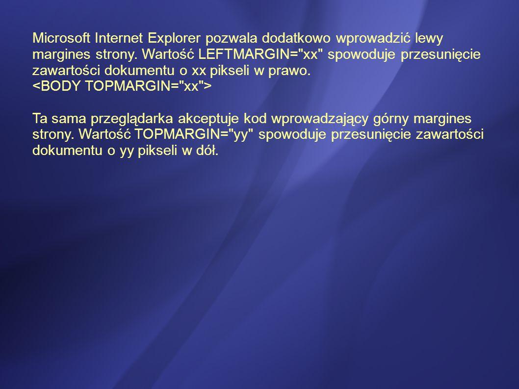 Microsoft Internet Explorer pozwala dodatkowo wprowadzić lewy margines strony.