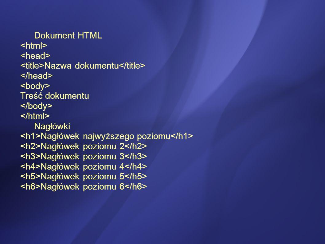 Dokument HTML Nazwa dokumentu Treść dokumentu Nagłówki Nagłówek najwyższego poziomu Nagłówek poziomu 2 Nagłówek poziomu 3 Nagłówek poziomu 4 Nagłówek poziomu 5 Nagłówek poziomu 6