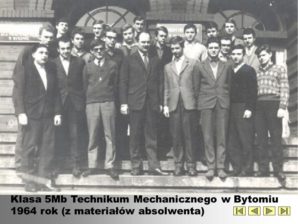 Klasa 5Mb Technikum Mechanicznego w Bytomiu 1964 rok (z materiałów absolwenta)