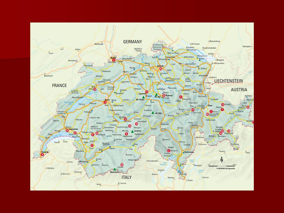 Szwajcaria w liczbach Powierzchnia wynosi 41 290 km² Powierzchnia wynosi 41 290 km² Liczba ludności 7 725 200 Liczba ludności 7 725 200 Gęstość zaludnienia 186 osób/km² Gęstość zaludnienia 186 osób/km² Najwyższy szczyt Dufourspitze 4634 m n.p.m.