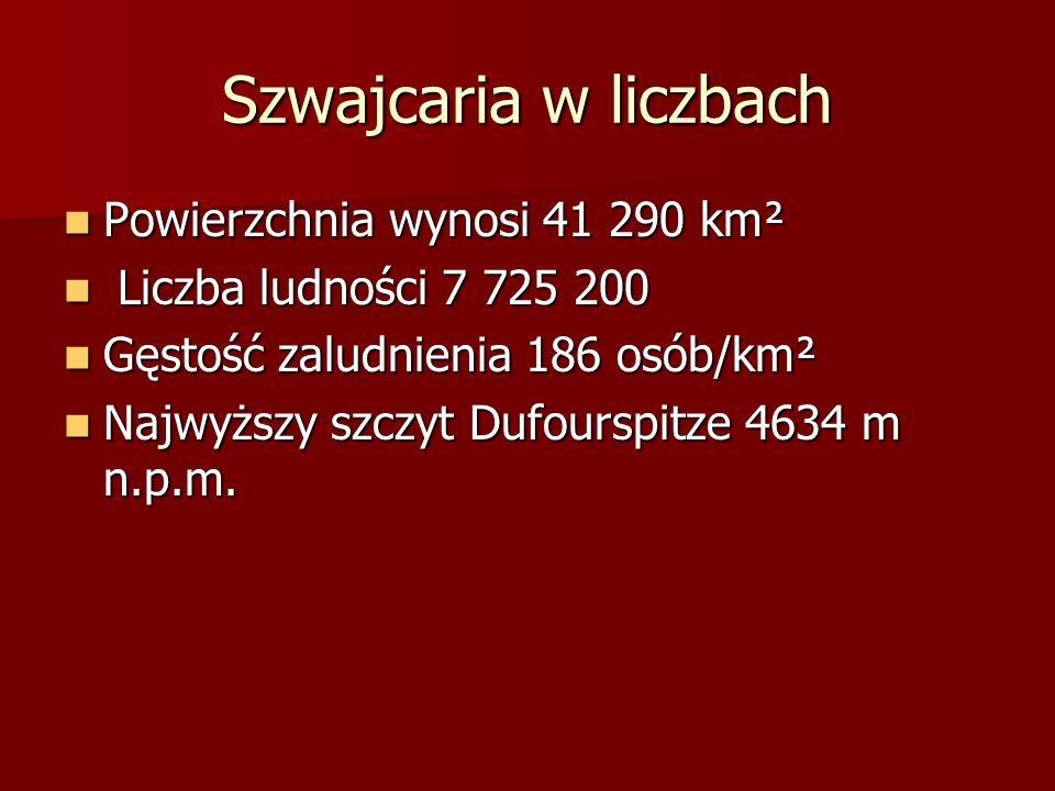 Szwajcaria w liczbach Powierzchnia wynosi 41 290 km² Powierzchnia wynosi 41 290 km² Liczba ludności 7 725 200 Liczba ludności 7 725 200 Gęstość zaludn