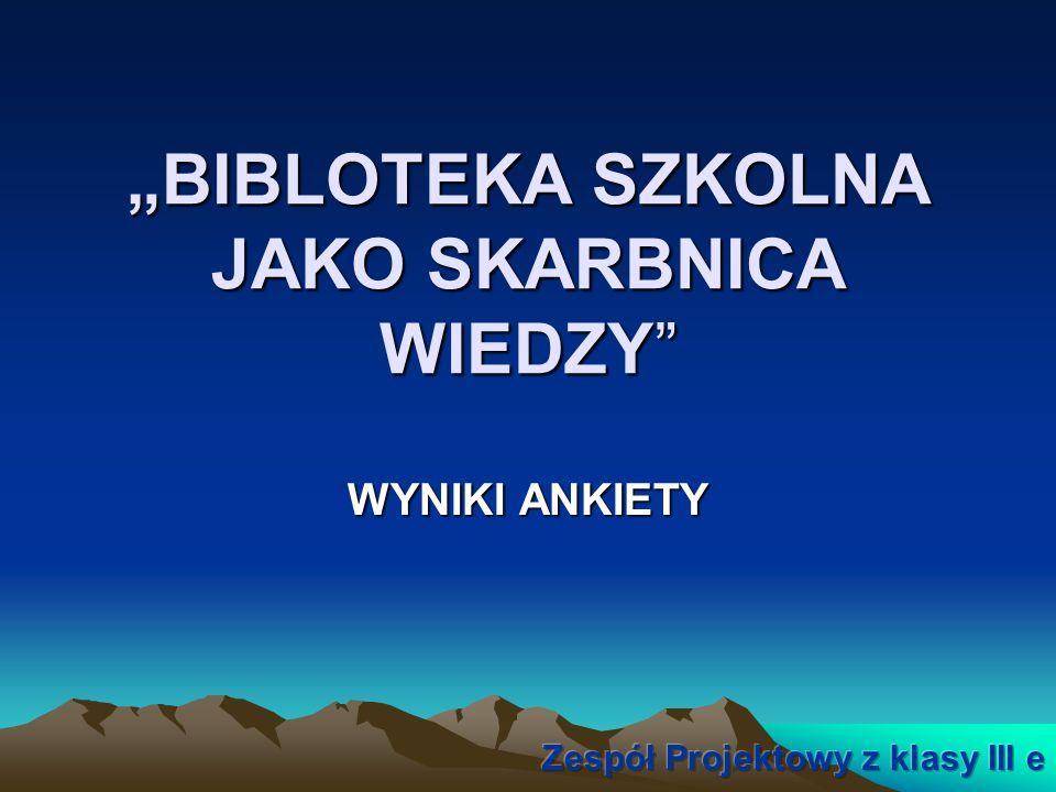 """""""BIBLOTEKA SZKOLNA JAKO SKARBNICA WIEDZY"""