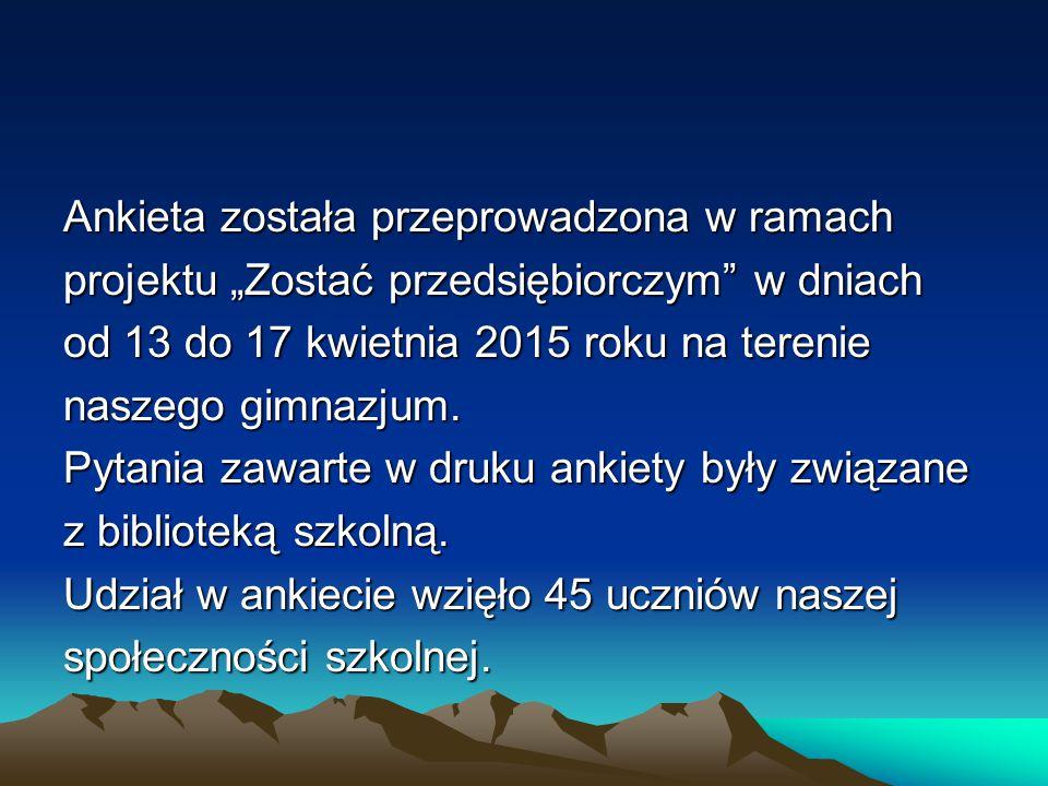 """Ankieta została przeprowadzona w ramach projektu """"Zostać przedsiębiorczym w dniach od 13 do 17 kwietnia 2015 roku na terenie naszego gimnazjum."""