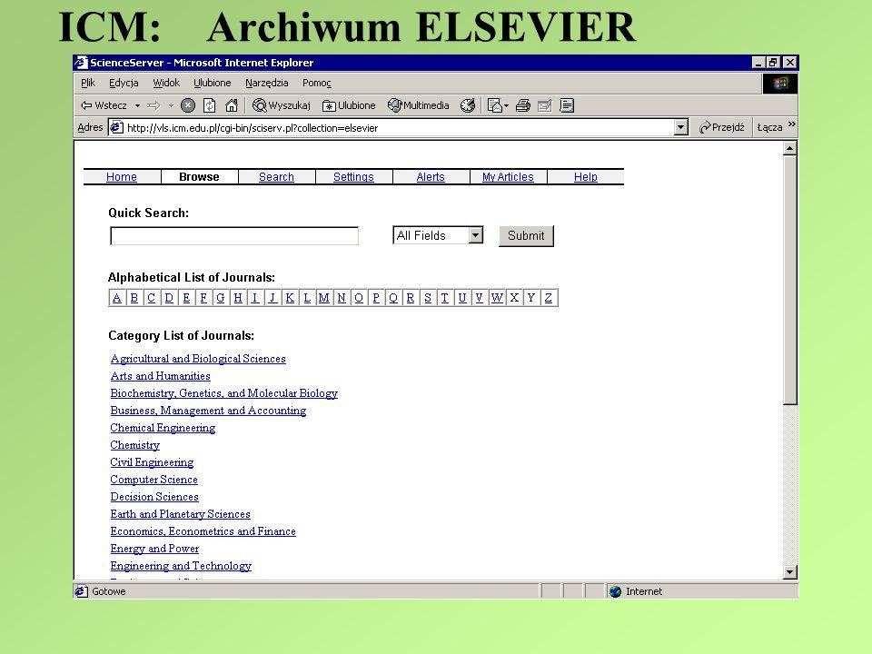 ICM: Archiwum ELSEVIER