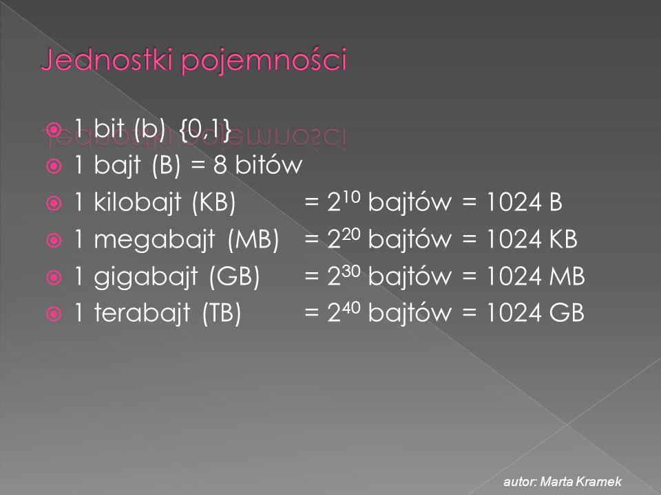  1 bit (b) {0,1}  1 bajt (B) = 8 bitów  1 kilobajt (KB) = 2 10 bajtów = 1024 B  1 megabajt (MB) = 2 20 bajtów = 1024 KB  1 gigabajt (GB) = 2 30 b