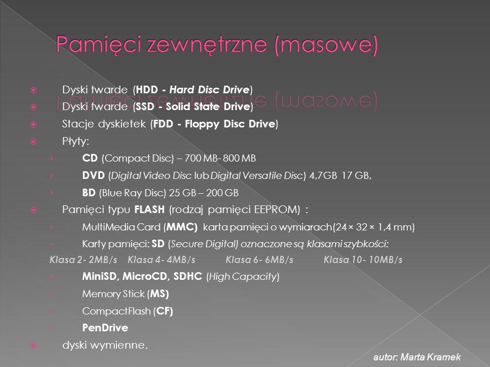  Dyski twarde ( HDD - Hard Disc Drive )  Dyski twarde ( SSD - Solid State Drive )  Stacje dyskietek ( FDD - Floppy Disc Drive )  Płyty: › CD (Comp