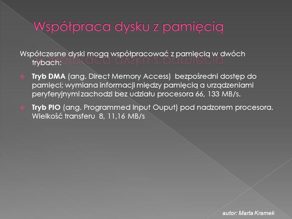 Współczesne dyski mogą współpracować z pamięcią w dwóch trybach:  Tryb DMA (ang. Direct Memory Access) bezpośredni dostęp do pamięci; wymiana informa