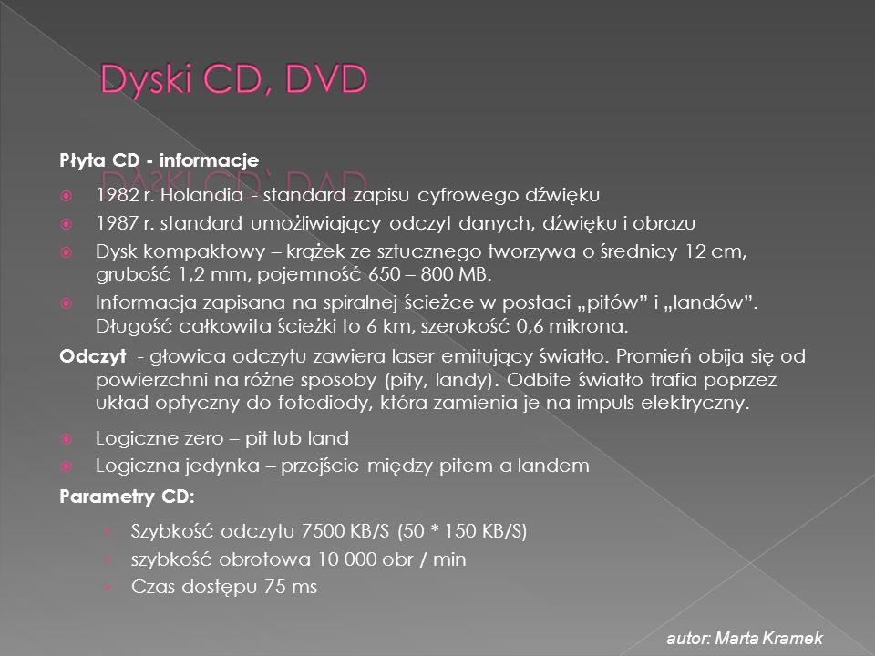 Płyta CD - informacje  1982 r. Holandia - standard zapisu cyfrowego dźwięku  1987 r. standard umożliwiający odczyt danych, dźwięku i obrazu  Dysk k