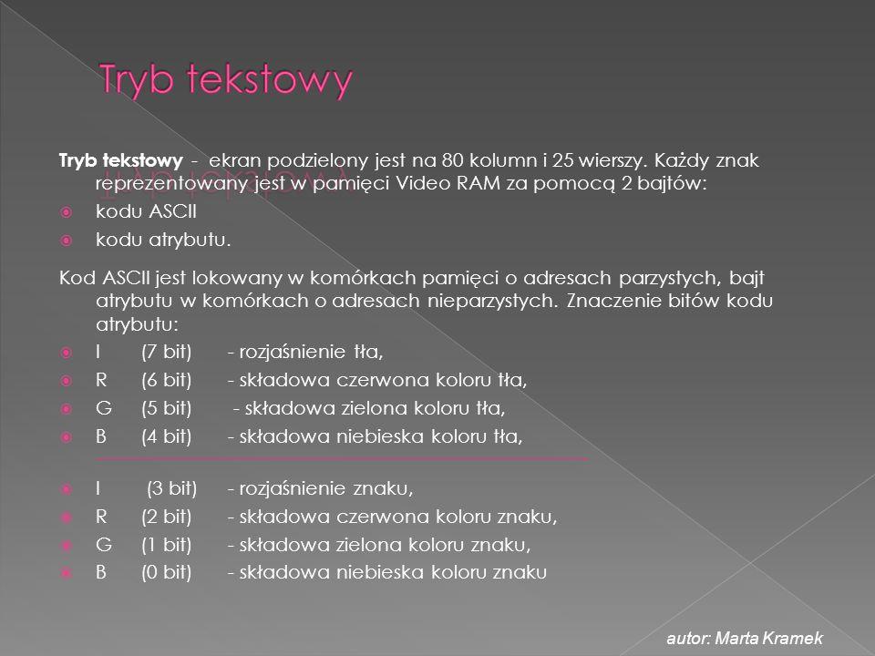 Tryb tekstowy - ekran podzielony jest na 80 kolumn i 25 wierszy. Każdy znak reprezentowany jest w pamięci Video RAM za pomocą 2 bajtów:  kodu ASCII 