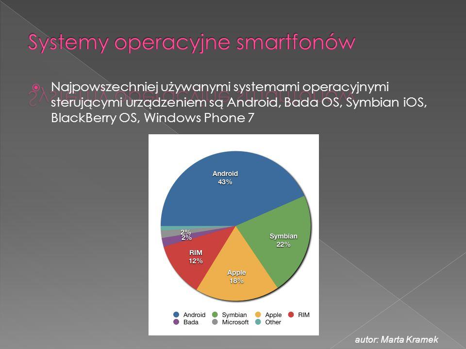  Najpowszechniej używanymi systemami operacyjnymi sterującymi urządzeniem są Android, Bada OS, Symbian iOS, BlackBerry OS, Windows Phone 7 autor: Mar