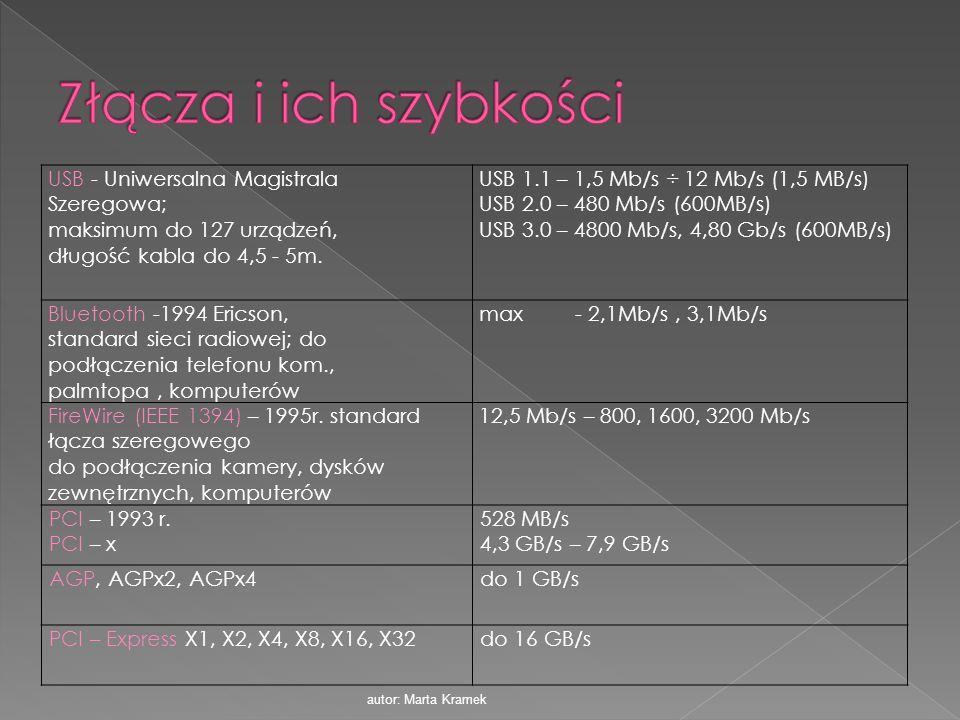 USB - Uniwersalna Magistrala Szeregowa; maksimum do 127 urządzeń, długość kabla do 4,5 - 5m. USB 1.1 – 1,5 Mb/s ÷ 12 Mb/s (1,5 MB/s) USB 2.0 – 480 Mb/