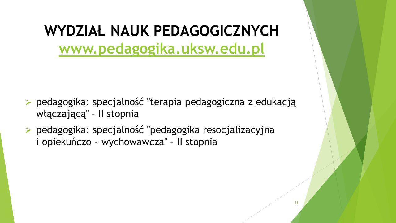 WYDZIAŁ NAUK PEDAGOGICZNYCH www.pedagogika.uksw.edu.pl www.pedagogika.uksw.edu.pl  pedagogika: specjalność terapia pedagogiczna z edukacją włączającą – II stopnia  pedagogika: specjalność pedagogika resocjalizacyjna i opiekuńczo - wychowawcza – II stopnia 11