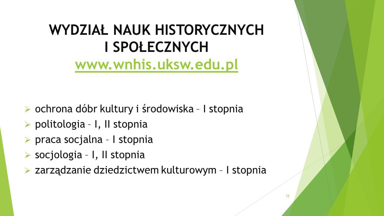 WYDZIAŁ NAUK HISTORYCZNYCH I SPOŁECZNYCH www.wnhis.uksw.edu.pl www.wnhis.uksw.edu.pl  ochrona dóbr kultury i środowiska – I stopnia  politologia – I, II stopnia  praca socjalna – I stopnia  socjologia – I, II stopnia  zarządzanie dziedzictwem kulturowym – I stopnia 15