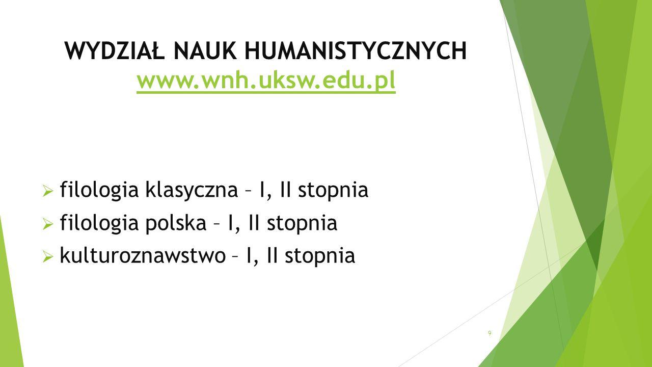 WYDZIAŁ NAUK HUMANISTYCZNYCH www.wnh.uksw.edu.pl www.wnh.uksw.edu.pl  filologia klasyczna – I, II stopnia  filologia polska – I, II stopnia  kulturoznawstwo – I, II stopnia 9