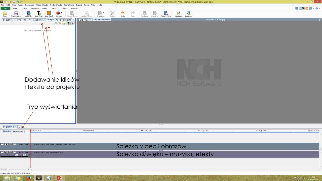 Przecięcie klipu Dodanie efektu przejścia Dodanie efektu Video Dodanie efektu Audio Klipy video dodane do projektu