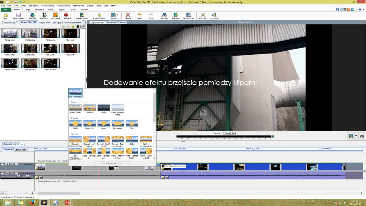 Edycja ścieżki audio klipu Aby edytować ścieżkę audio należy kliknąć ścieżkę 2x