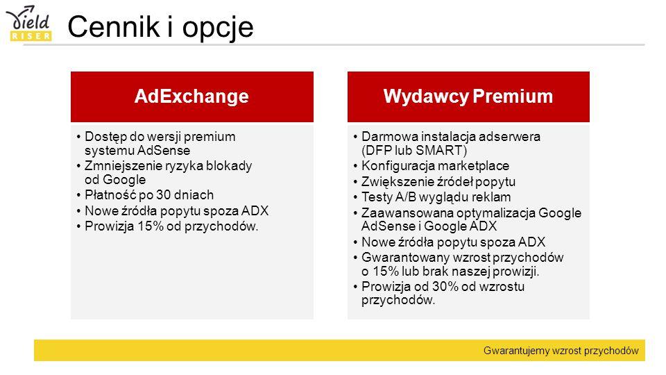 Gwarantujemy wzrost przychodów Cennik i opcje AdExchange Dostęp do wersji premium systemu AdSense Zmniejszenie ryzyka blokady od Google Płatność po 30