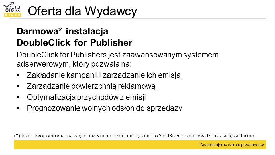 Gwarantujemy wzrost przychodów Oferta dla Wydawcy Darmowa* instalacja DoubleClick for Publisher DoubleClick for Publishers jest zaawansowanym systemem