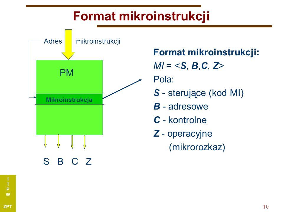 I T P W ZPT 10 Format mikroinstrukcji Format mikroinstrukcji: MI = Pola: S - sterujące (kod MI) B - adresowe C - kontrolne Z - operacyjne (mikrorozkaz) PM S B C Z Adres mikroinstrukcji Mikroinstrukcja