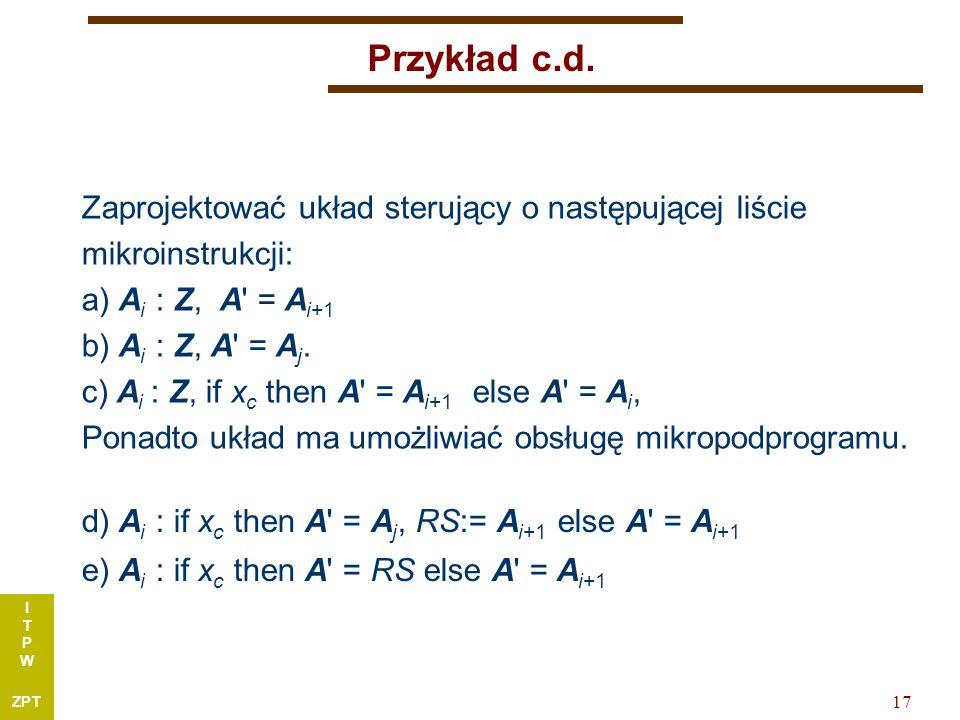I T P W ZPT 17 Przykład c.d.