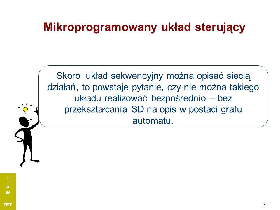 I T P W ZPT 3 Mikroprogramowany układ sterujący Skoro układ sekwencyjny można opisać siecią działań, to powstaje pytanie, czy nie można takiego układu realizować bezpośrednio – bez przekształcania SD na opis w postaci grafu automatu.