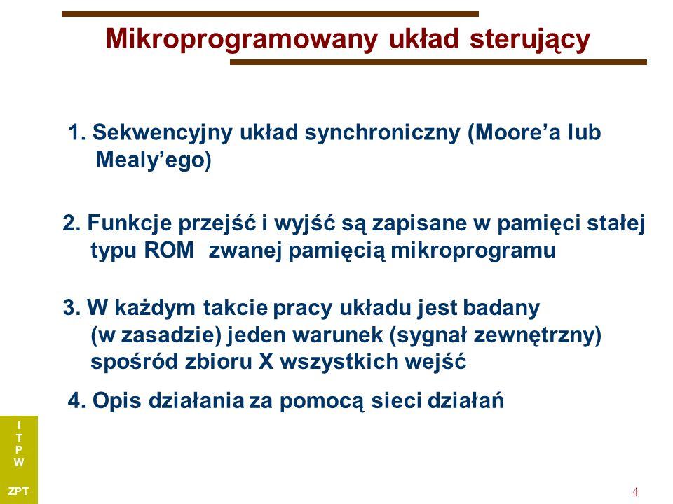 I T P W ZPT 4 Mikroprogramowany układ sterujący 1.