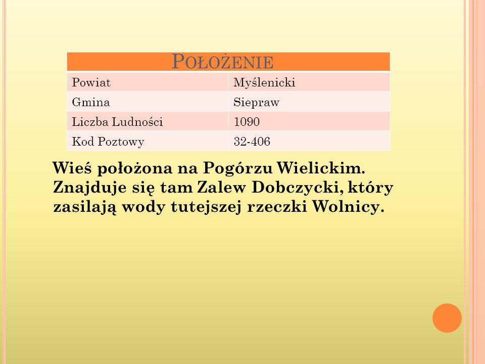 PowiatMyślenicki GminaSiepraw Liczba Ludności1090 Kod Poztowy32-406 P OŁOŻENIE Wieś położona na Pogórzu Wielickim.