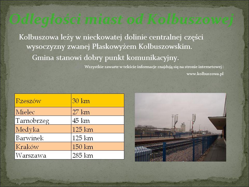 Odległości miast od Kolbuszowej Kolbuszowa leży w nieckowatej dolinie centralnej części wysoczyzny zwanej Płaskowyżem Kolbuszowskim.