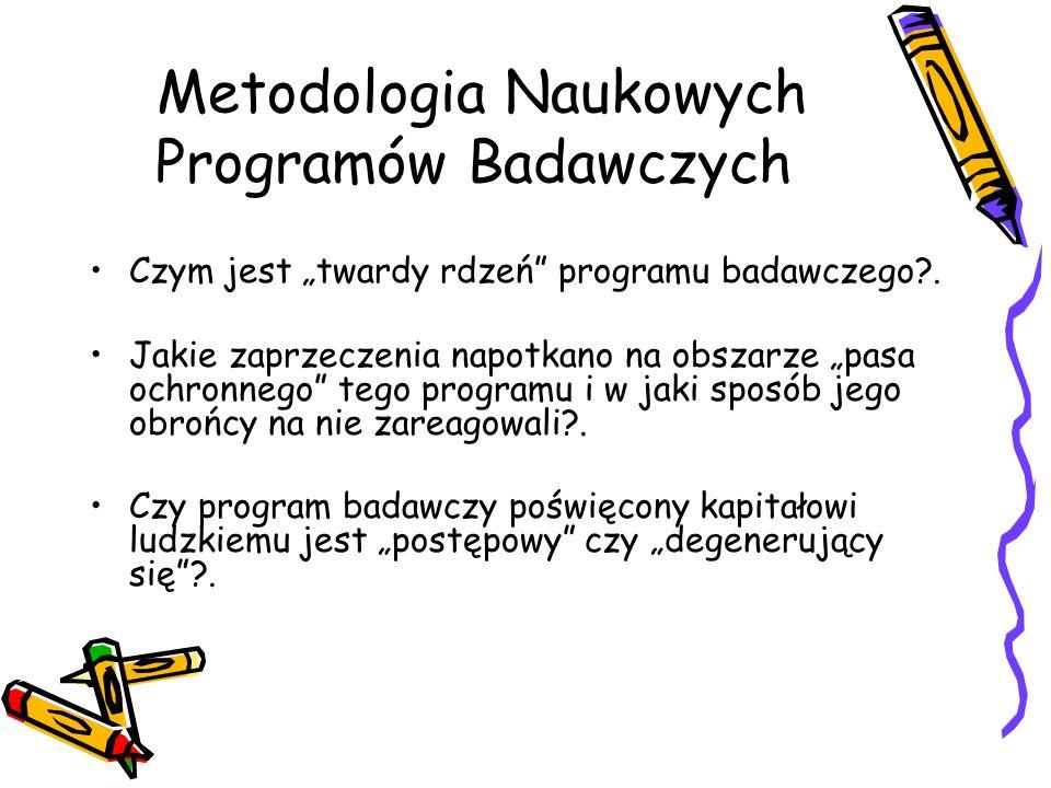 """Metodologia Naukowych Programów Badawczych Czym jest """"twardy rdzeń"""" programu badawczego?. Jakie zaprzeczenia napotkano na obszarze """"pasa ochronnego"""" t"""