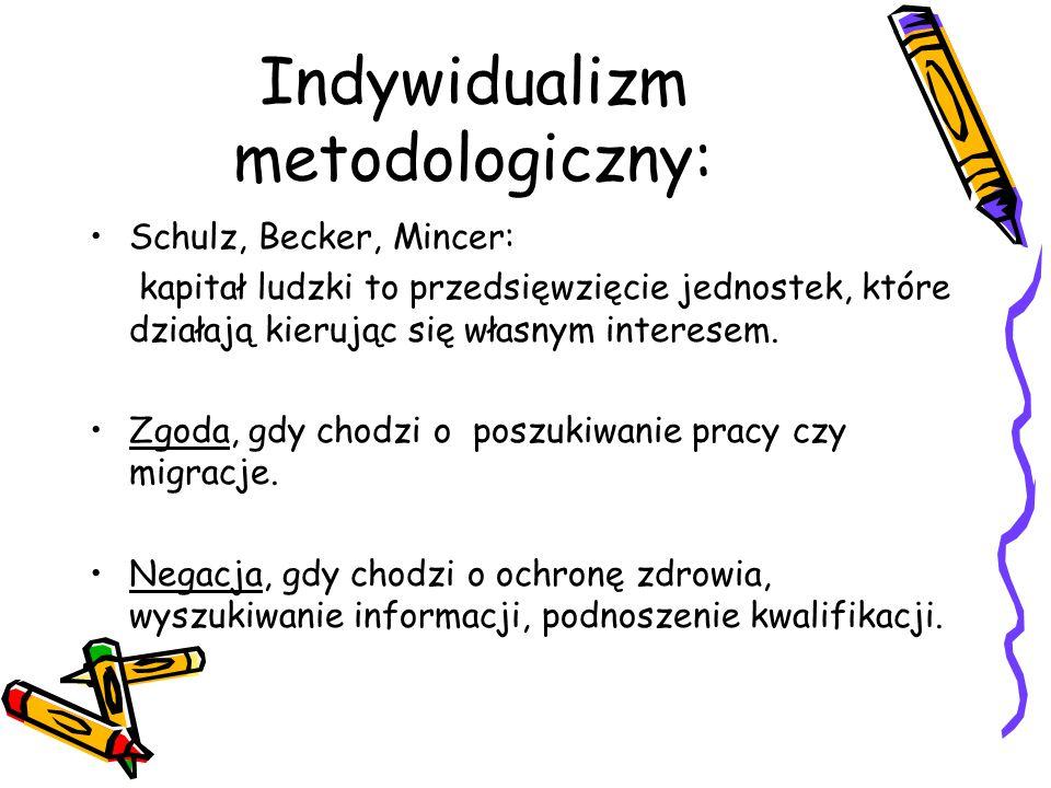 Indywidualizm metodologiczny: Schulz, Becker, Mincer: kapitał ludzki to przedsięwzięcie jednostek, które działają kierując się własnym interesem. Zgod