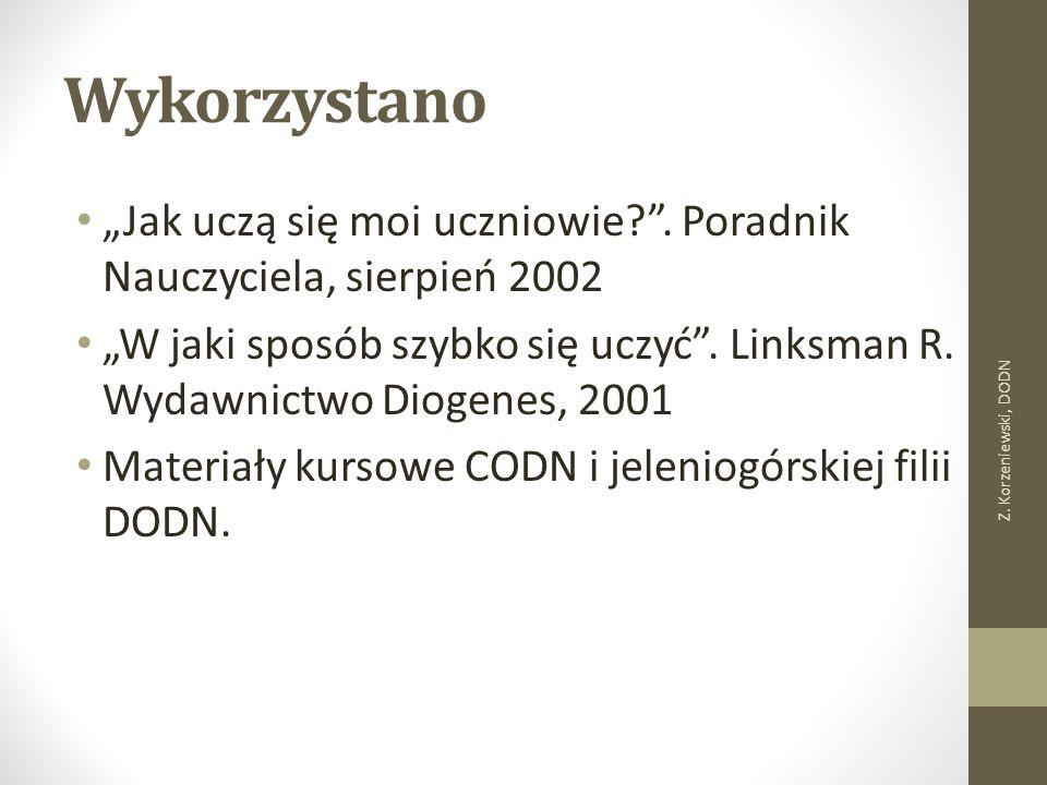 """Wykorzystano """"Jak uczą się moi uczniowie?"""". Poradnik Nauczyciela, sierpień 2002 """"W jaki sposób szybko się uczyć"""". Linksman R. Wydawnictwo Diogenes, 20"""