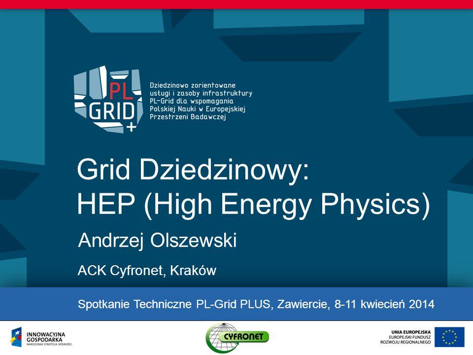 Grid Dziedzinowy: HEP (High Energy Physics) Andrzej Olszewski ACK Cyfronet, Kraków Spotkanie Techniczne PL-Grid PLUS, Zawiercie, 8-11 kwiecień 2014
